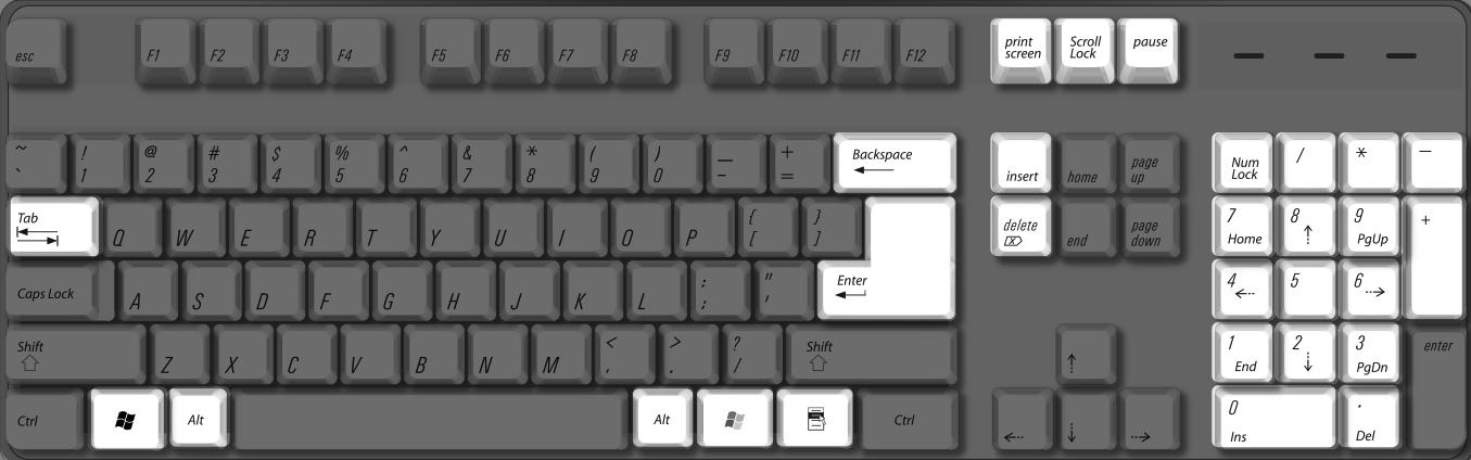 PC keyboard some keys highlighted