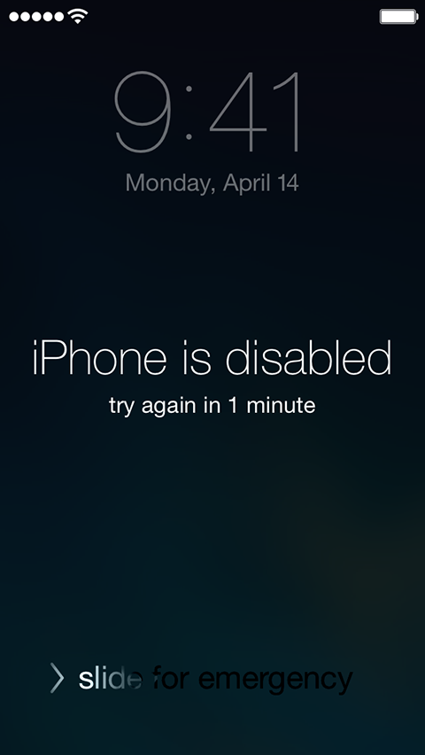 IPhone is disabled message on Lock screen