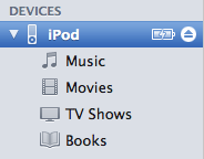 iPod in Device list