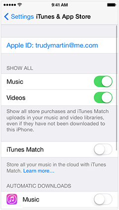 iTunes & App Store Settings on iPhone