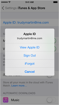 Apple ID menu