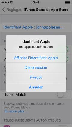 Menu identifiant Apple