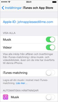inställningar för iTunes Store och App Store på iPhone