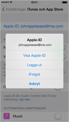 menyn Apple-ID