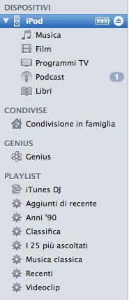 Aggiunta di una playlist nell'iPod