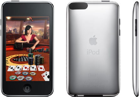 iPod touch models by its contoured design and oval shaped antennae cover