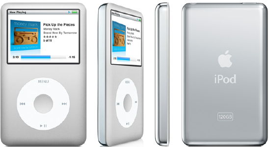 The iPod classic (120 GB) is a hard drive-based iPod featuring a large,