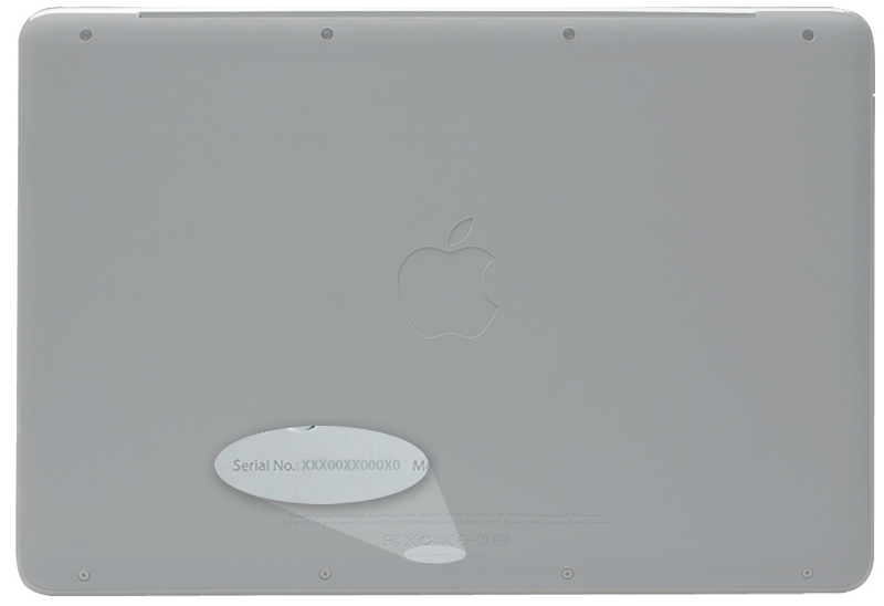 Back of the MacBook, with serial number location