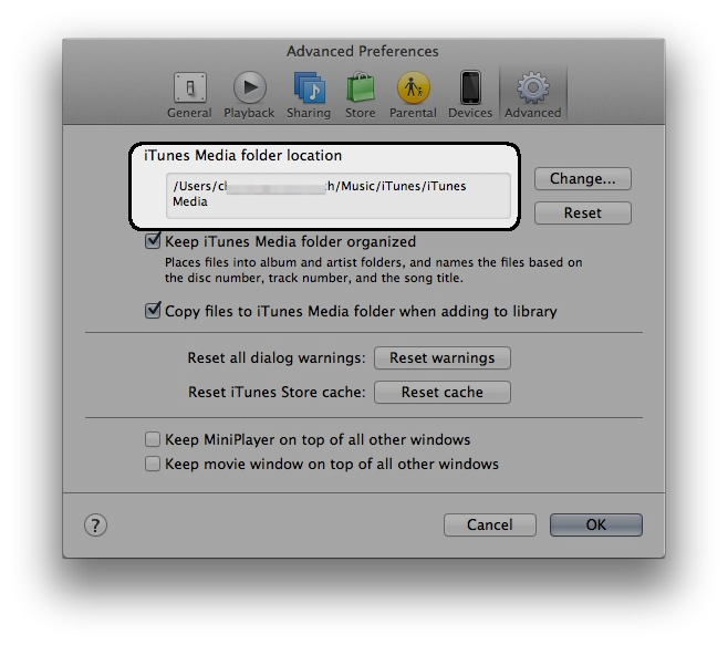 iTunes folder location