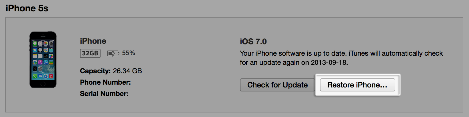 Restoring iOS software
