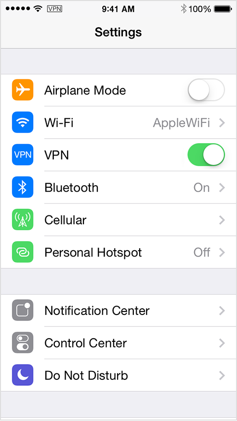 VPN icon in status bar