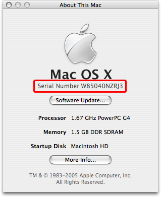 Mac OS X: About This Mac window provides computer serial number
