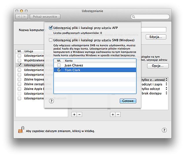 Okno opcji funkcji udostępniania plików