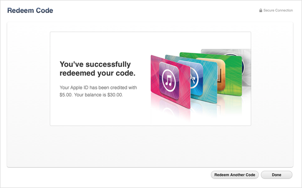 how to use redeemed itunes gift card