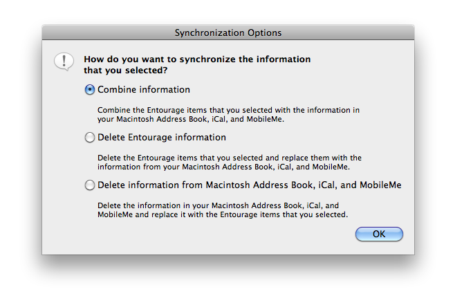 [Synchronization Options screenshot]
