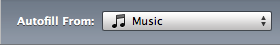 Music source menu before clicking