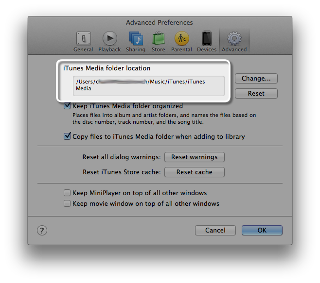 iTunes Media folder location highlighted