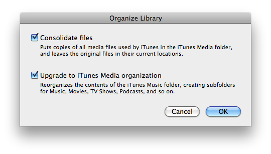 Organize library options