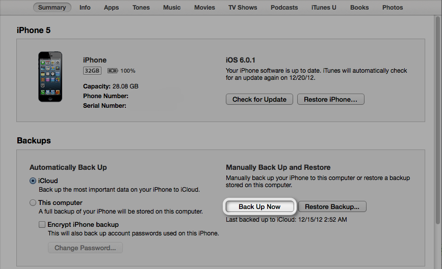 Backup your device with iTunes 11   Release My Code