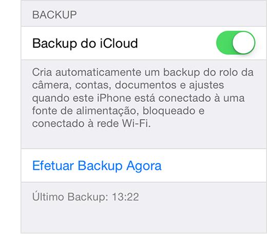 Ajustes do backup do iCloud