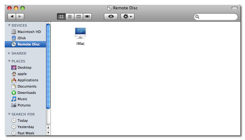 Finder window with Remote Disc selected
