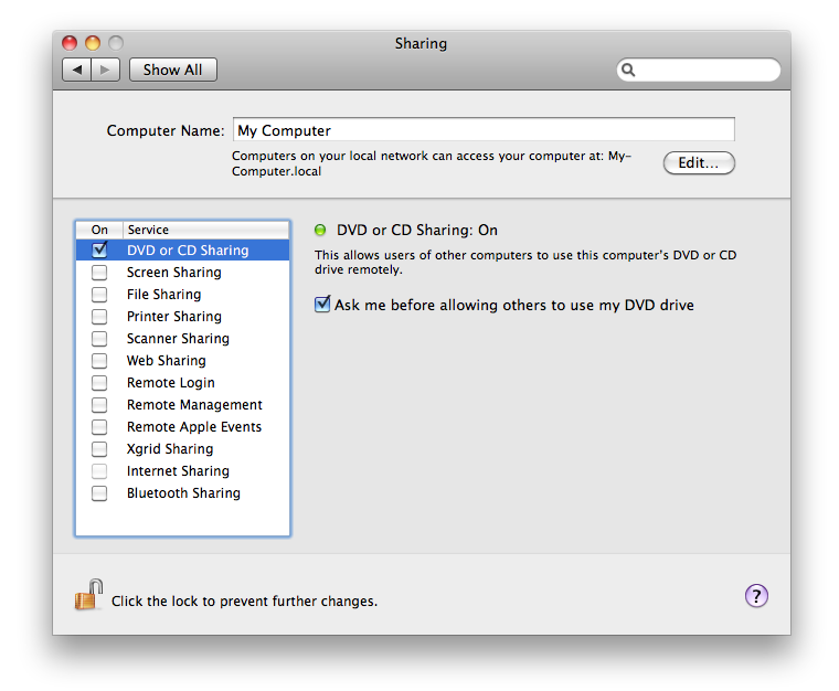 Sharing System Preferences with DVD or CD Sharing on