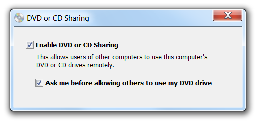 DVD or CD Sharing checkbox enabled
