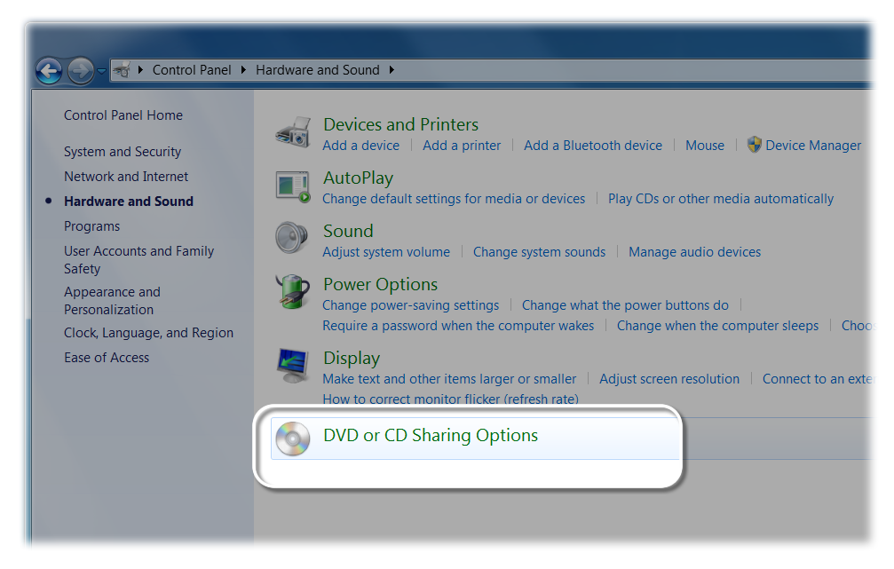DVD or CD Sharing Options in the Control Panel