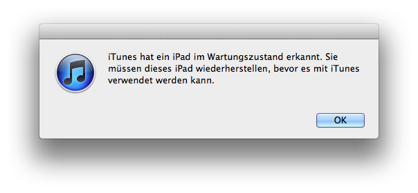 """Fehlermeldung """"iTunes hat ein iPhone im Wartungszustand erkannt..."""""""