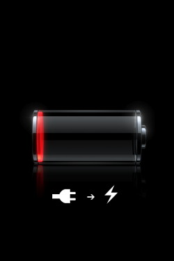 Image of an empty battery with socket to lightening bolt symbol