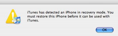 "Alert text: ""iTunes has detected an iPhone in recovery mode..."""
