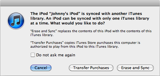 Alert offering the chance to transfer purchases in iTunes
