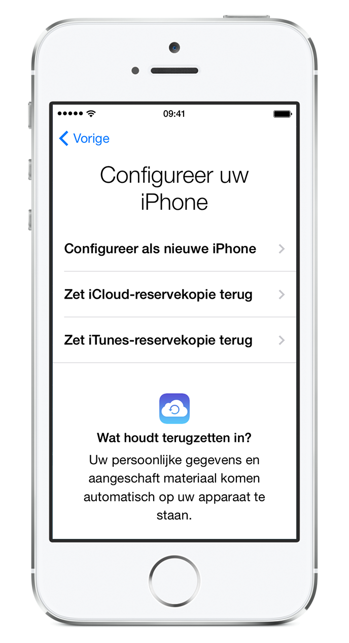 Reservekopie terugzetten op nieuwe iphone