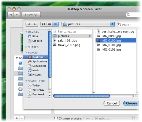 If You Want To Use A Photo From Your IPhoto Library Select In The Left Pane Otherwise Choose Folder Navigate And