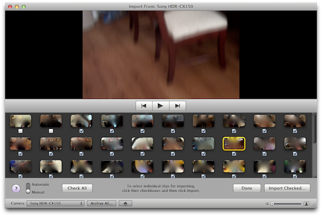iMovie import window