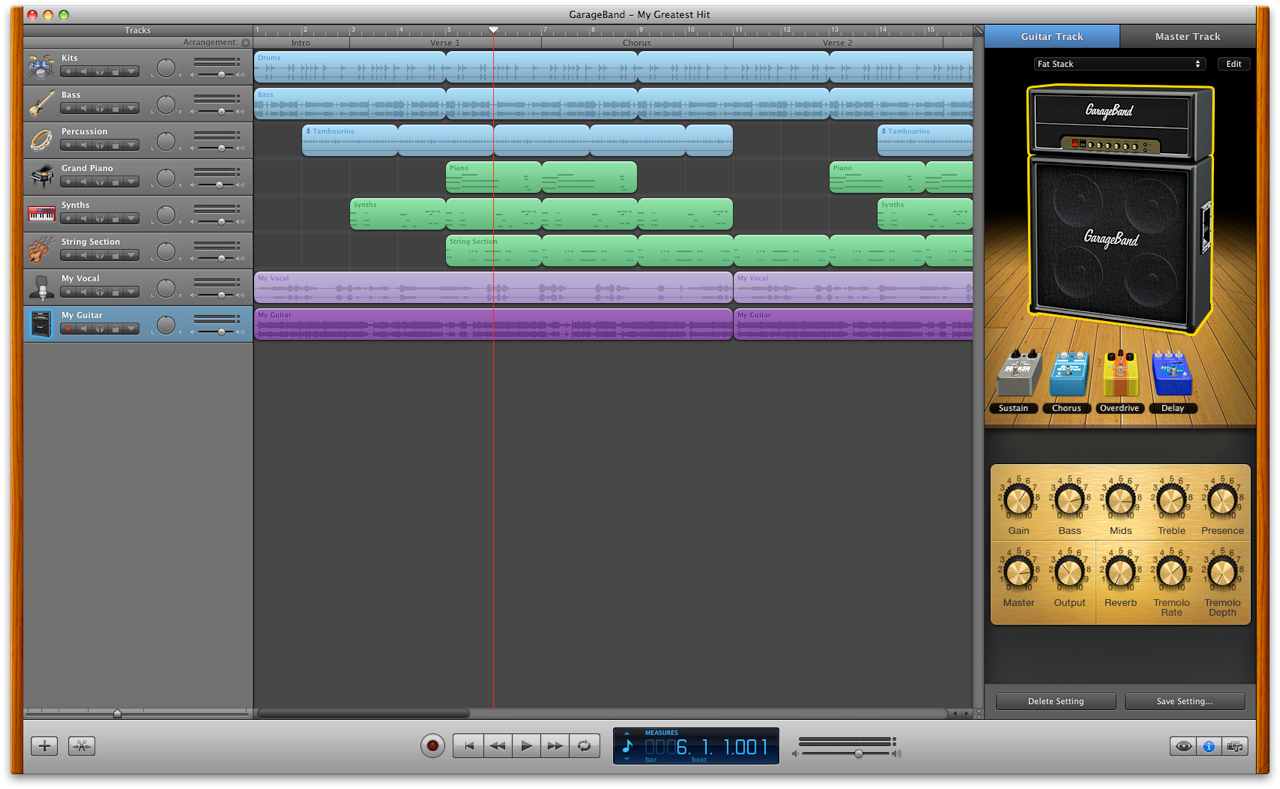 GarageBand mixing window