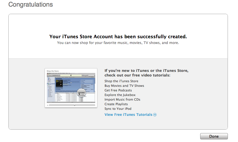 "Congratulations screen text: ""Your iTunes Store Account has been successfully created..."""