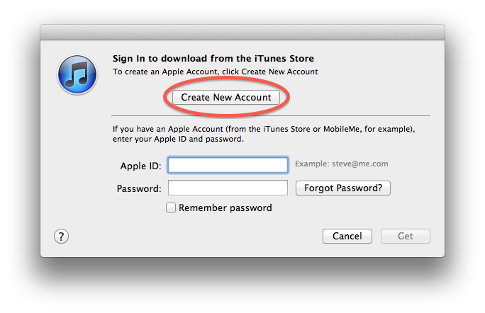create new account window