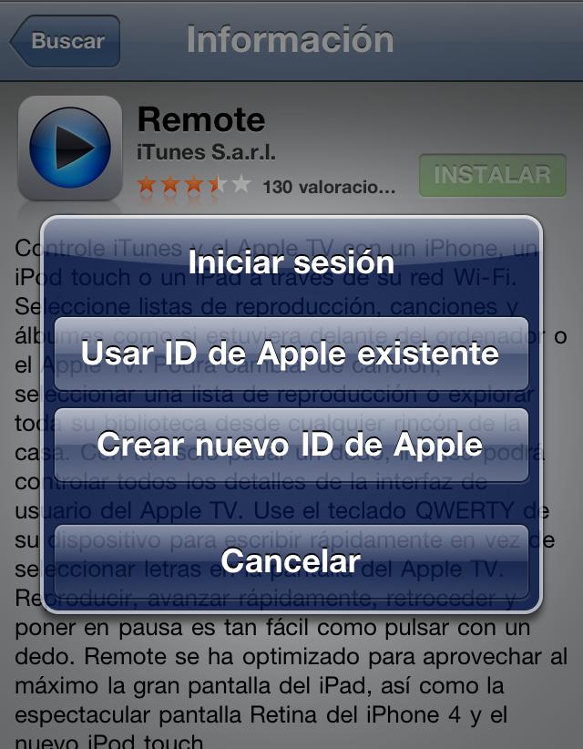 Crear nuevo ID de Apple