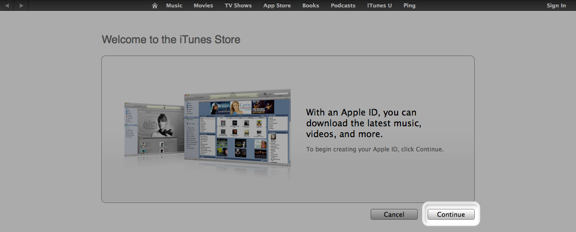 welcome to the iTunes Store screen