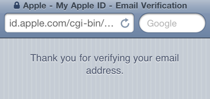 thank you verification screen
