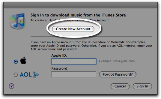 HT2534 3a - How to make an iTunes App Store account without a credit card