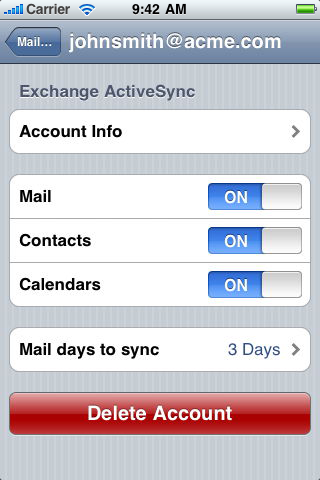 setup exchange on iphone ios exchange increase or reduce the amount of emails 16110