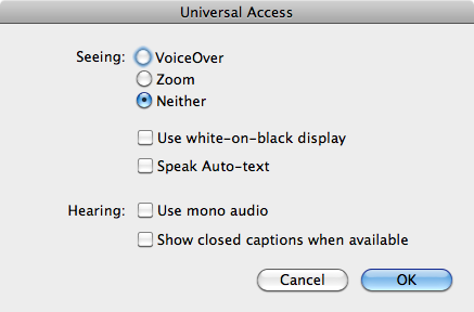 [Universal access options screenshot]