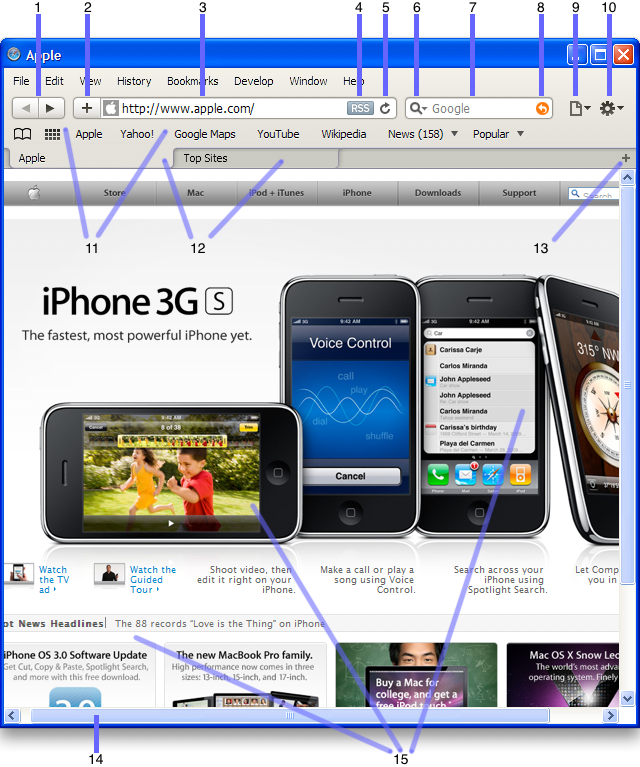 Safari window with elements highlighted