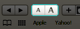 Zoom button on Safari toolbar
