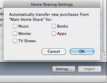 Home Sharing Settings