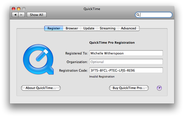 quicktime pro key