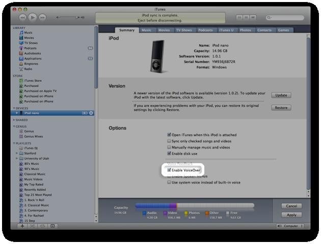 voiceover  ipod nano
