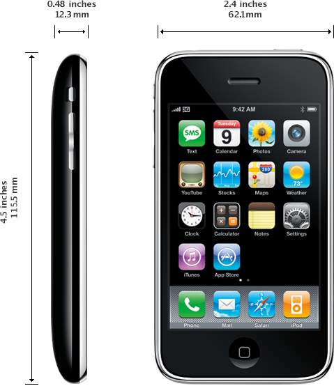 Dimensions de l'iPhone 3G